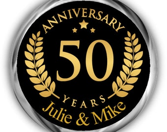 Gold Emblem Anniversary Hershey Kisses Stickers - 50th Anniversary Kiss Favors