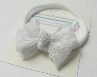 White Lace bow newborn headband, girl headband, newborn hair bow, baby headband , toddler headband