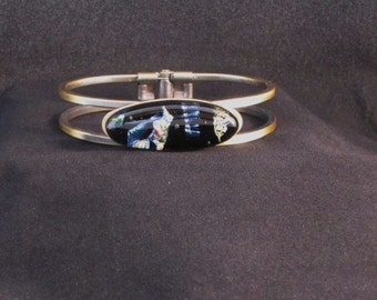 Fused Dichoric Glass on Metal Bracelet: Med to Large Wrist