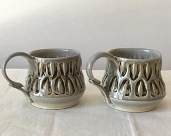 Pottery Coffee Mug. Petite Coffee Tea Mug. Fancy Teacup. Handled Porcelain Cup. Small Pottery Coffee Mug. Hand Thrown Ceramic Tea Cup Mug