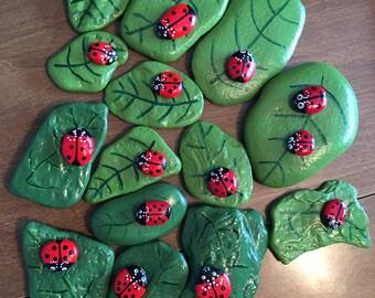 Painted Ladybug & Leaf Rocks