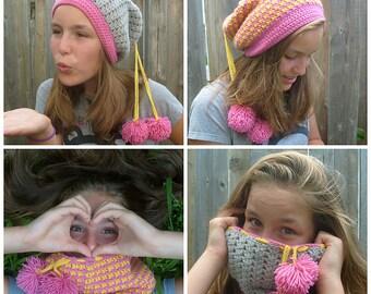 Quatre - Four In One Crochet Hat Pattern - Convertible Crochet Cowl Pattern - DK Reversible Hat Pattern - Easy Cowl Pattern