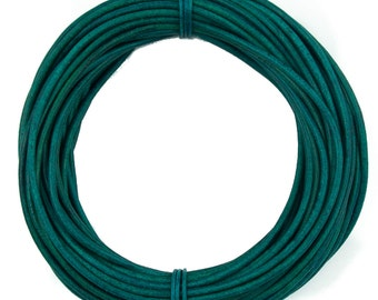 Turquoise Natural Dye Round Leather Cord 2mm 10 meters (11 yards)