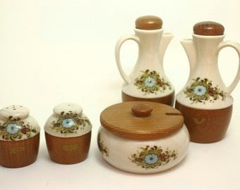 SALE Condiment Set, Oil, Vinegar, Salt, Pepper, and Sugar Dish, Japanese
