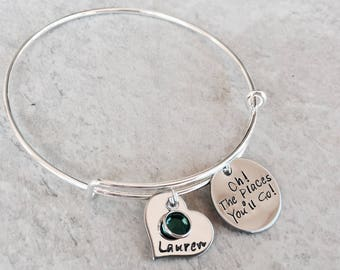 Oh the places you'll go personalized bangle bracelet handstamped bracelet graduation gift graduation jewelry class of 2017 2018 2019 custom