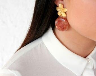 Amber agate earrings