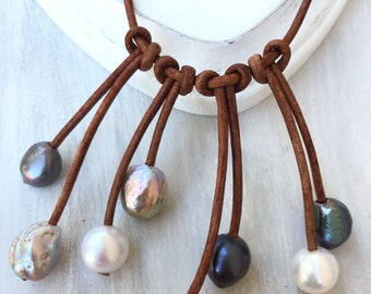 Leather pearl necklace, leather pearl jewelry, pearl necklace, pearl jewelry, leather necklace, freshwater pearl necklace