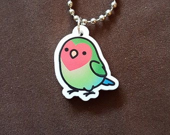 "Chubby Peach-face Lovebird 1"" Pendant and Stainless Steel Ball Chain Necklace"