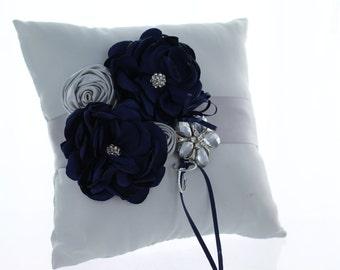 Navy & Silver Ring Bearer Pillow/ Shabby Chic Wedding/ Bridal Pillow Navy Flowers