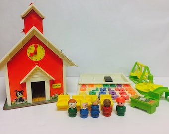 Vintage Fisher Price, Play Family School, Little People, FP #923, School House, Vintage Toys, Retro 1970s toy, Fisher Price Playground, 1971
