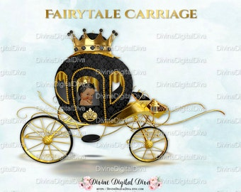 African American Little Prince Carriage Coach Black & Gold Crown | Clipart Instant Download