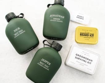 Personalized Canteen Flask Groomsmen Gift  - (ONE) Custom Engraved Soft Touch Green Canteen Large - Men's Birthday Gift - Outdoors Adventure