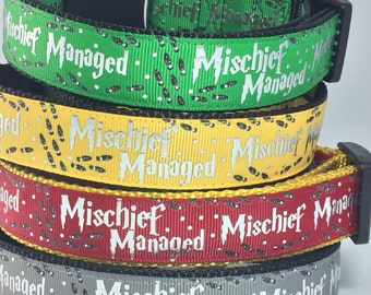Harry Potter, Hogwarts , Wizard, Wizardry, Mischief Managed, Dog Collar, Gift for Dog