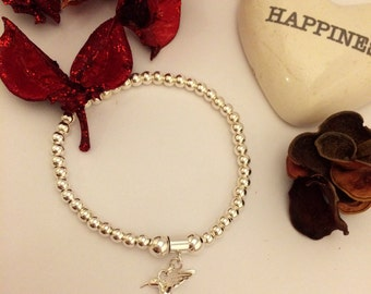 Sterling Silver Hummingbird Charm Stretch Bead Bracelet with a message
