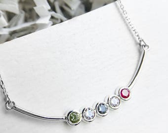 Birthstone Family Bar Necklace mother's jewelry mom necklace children sterling bar