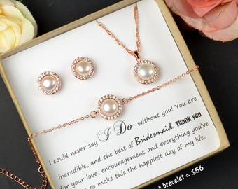 pearl,Bridesmaid Jewelry,Personalized Bridesmaid Gift,Bridesmaid Earrings necklace Bracelet,Bridesmaid Jewelry Set,Bridal Studs Bracelet Set