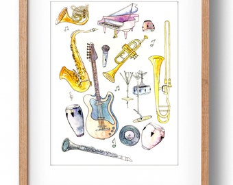 Jazz Instruments, Nola, Jazz Illustration, Soul Music, Jazz Art Print, Funk Music, New Orleans, Jazz Band, Sax, Trombone, Trumpet, Bass