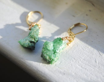 Green Druzy Agate Earrings, Medium