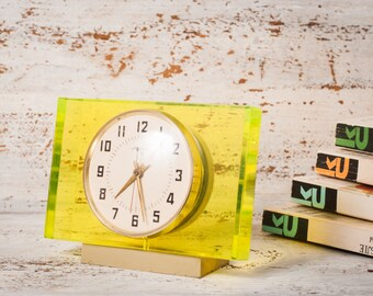 Yellow home decor gift|for|birthday clock vintage glass yellow glass home decor gift|ideas|for yellow clock Molniya Plexiglass Retro Clock