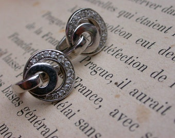 French antique  pair of earrings  sterling silver earrings crystal sterling ornate earrings creole large ring silver jewelry