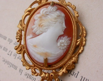 French antique 19th century gold gilt ornate bronze frame Hand Carved Shell Cameo Brooch engraved ornate frame lady woman portrait miniature