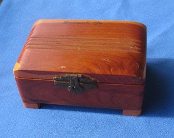 Vintage Cedar Wooden Trinket Box Souvenir Brunswick GA