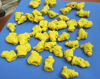 Lot Of Retro Animal Shaped Yellow Pencil Toppers