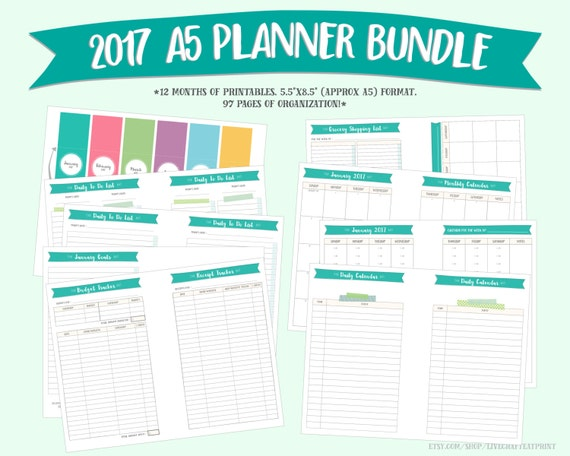 """2017 Monthly Planner and Organizer Bundle : 5.5""""x8.5"""" (A5 size)"""