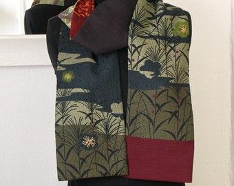 Amazing Japanese Vintage Kimono Versatile Silk Scarf By