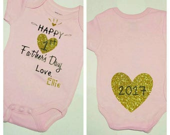 First Father's Day, Father's Day onesie, Custom Father's Day, Baby Girl onesie, Baby bodysuit, Baby clothes