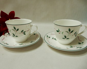 Holiday Spendor, China Teacups and Saucers