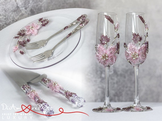 wedding cake plate and forks items similar to wedding champagne flutes forks and plate 23498