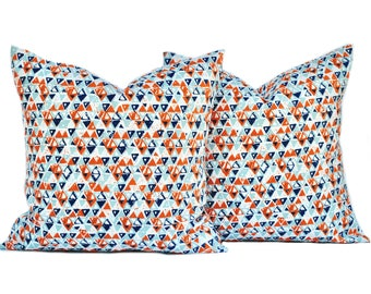 Two Geometric pillow covers, Orange Pillow, Navy Pillow, decorative throw pillow, accent pillow, pillow case, DIFFERENT SIZES AVAILABLE