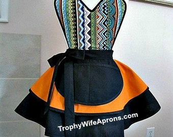 Apron number 4017 - African print over orange and black retro apron