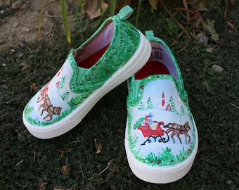 Hand PAINTED CHRITSTMAS SHOES, Horse drawn carriage, Vintage Christmas Shoes, Baby/Toddler, Child/Youth, and Womens Sizes