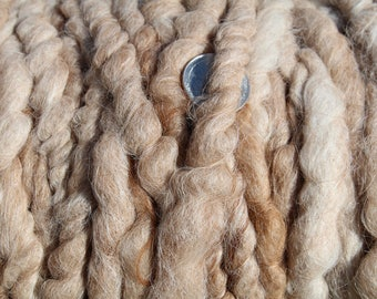 100% suri HEATHERED FAWN (light brown) core spun rug yarn
