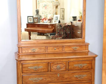 DREXEL HERITAGE South of France French Country Dresser Beveled Mirror 9 Drawers Insured safe Nation Wide Shipping Available