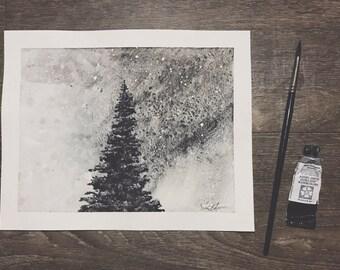 Winter Tree | Original | Handpainted | Watercolor | 8 x 10