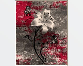 Red Brown Floral Wall Pictures, Red Decor, Modern Rustic Red Brown Home Decor Matted Wall Art