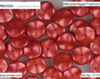 10 pcs Pastel Dark Coral Preciosa Ripple beads, 12x4 mm (10820)