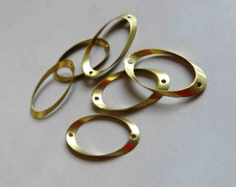 100pcs Raw Brass Oval Connectors Rings,Findings 20mm x 8mm - F392
