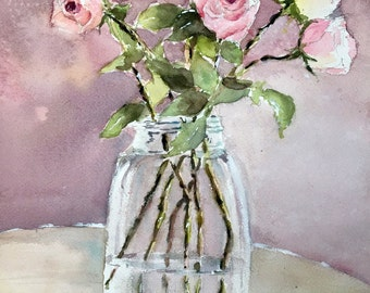 Pink Roses Bouquet pastel floral Art print from  original watercolor painting vase of flowers 10 x 14