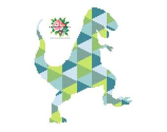 Diamond Dinosaur. Modern Cross Stitch Pattern.