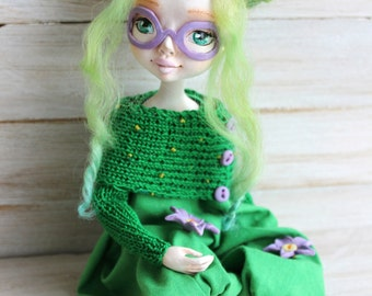 Art clay doll, Collecting doll, sculpted clay doll, OOAK Art Doll, Handmade doll, Cactus doll,  gift for Christmas