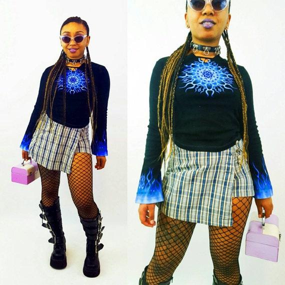 90s Vintage Plaid Mini Skort - Small Medium Miniskirt Shorts - 1990s Fashion Shorts Under Mini Skirt - Classic Basic Grunge Style Wrap Skirt