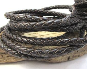 Braided Leather Bolo Cord, Dark Brown 5mm Leather Cord, 1 Yard Colored Braided Leather Cord, Leather Necklace Cord, Item 1267ct