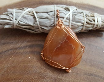 Orange Aventurine wire wrapped pendant, Reiki infused (WW18)