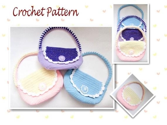 Crochet Clutch Bag Pattern : Crochet Pattern Girls Bag Girls Purse Childs Bag cute crochet