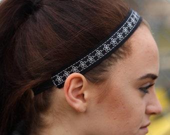 Black and White Headband Gift for Her - Flower Pattern Headbands for Women - Nonslip Headband Girls - Black Headband Adult