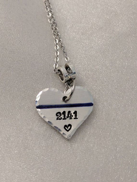 Thin Blue Line Necklace - Policewoman Necklace - Police Support Jewelry - LEO Gifts - Police Wife - Police Mom - Gift for Her - Blue Lives